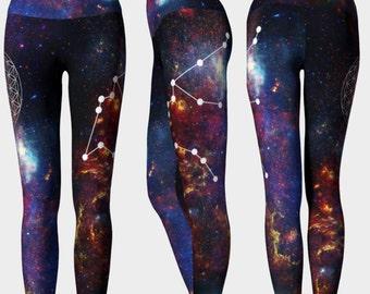 00423e6f5cb1a Galaxy Zodiac Leggings - Aquarius Constellation ~ Flower of Life ~ Yoga  Pants ~ Boho Leggings ~ Funky Yoga Pants ~ Fitness Leggings