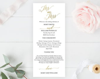 SALE! Wedding Program Template, Editable Wedding Programs, Instant Download, Custom Wedding Program Printable, DIY Ceremony Program inv00204