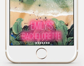 LIMITED TIME! Party Snapchat Geofilter, Bachelorette Snapchat Filter, On Demand Geofilter, Snapchat Geofilter - Neon Tropical Design nbr01