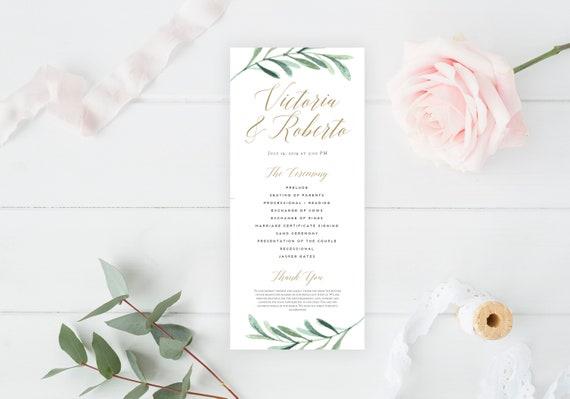 sale greenery wedding programs template printable wedding etsy