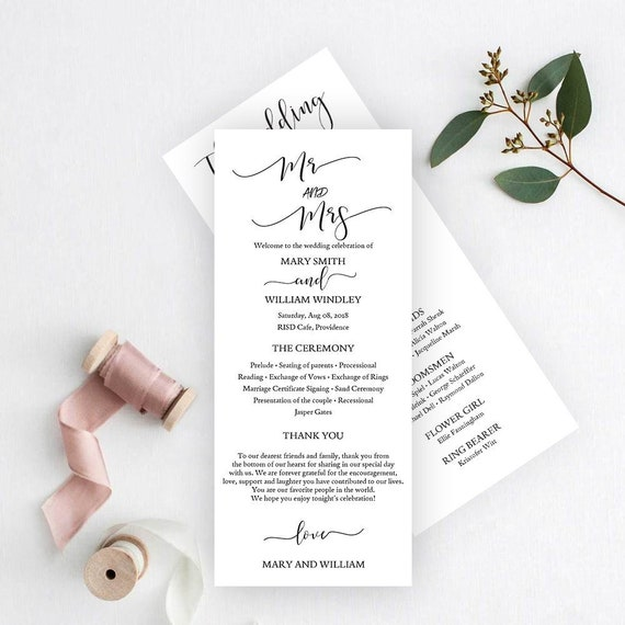 sale wedding program template editable wedding programs etsy