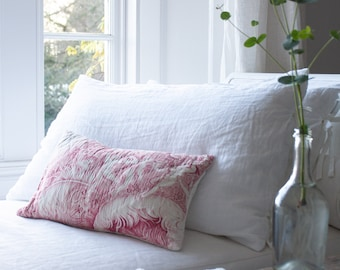 Stunning antique toile pink print quilted cushion made from 1800s, hand stitched quilt