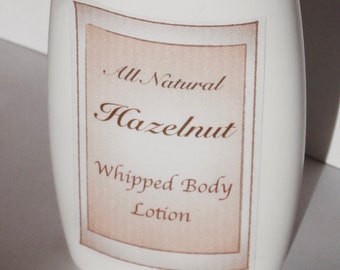 Hazelnut Lotion, Whipped Body Lotion, Organic Cocoa Butter, Avocado Oil, All Natural Skin Care, Vegan