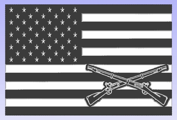 Americam Flag with Infantry