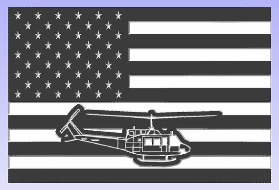 American Flag with Helicopter