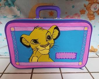 97212d680f48 Vintage Disney Lion King Simba Pink   Blue Childrens Suitcase