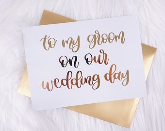 to my groom on our wedding day card gold wedding card card for husband card for groom groom gift for groom day of wedding groom love letter