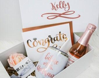 Engagement Gift Box | Engaged Gift Set | Engagement Gift Set | Congrats Engaged Gift | Gift for the Bride | Future Mrs Wine Glass & Engagement gift | Etsy