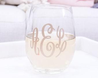 Monogram Wine Glass Monogrammed Wine Glass Monogram Wine Glasses Lilly Monogram Wine Glass Glitter Monogram Wine Glass