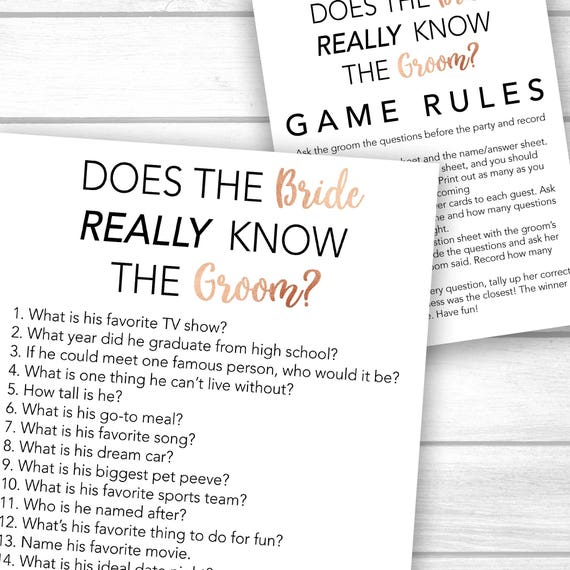 Bridal shower game ask the groom questions