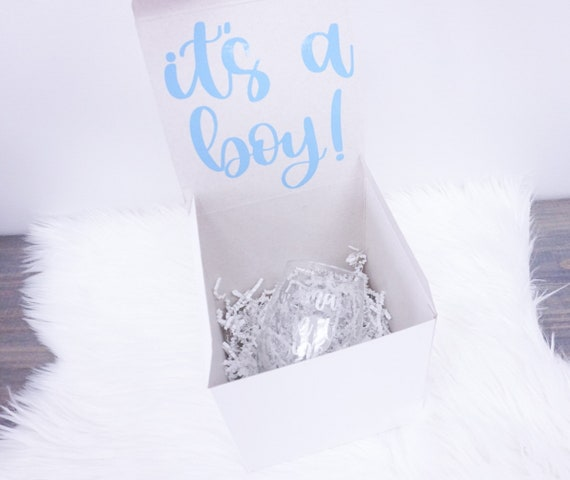 It's a Boy Gift Box | Baby Boy Gift Set for Mom New Baby Gifts Congrats Mom Gift Gift for New Mom Mama's Turn to Wine Wine Glass