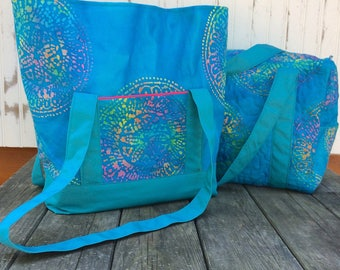 Blue Batik Cotton Duck Travel Set