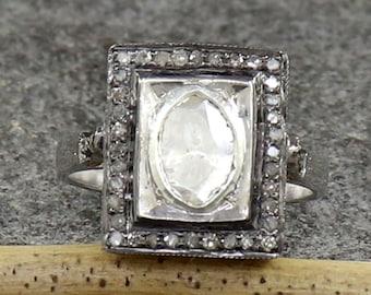Handmade Ring Uncut Diamond Ring 92.5/% Sterling Silver Ring Gift for Her Dual Polki Ring Natural Polki Diamond Slice Ring