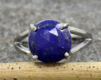 US 3 to 15 Faceted Lapis Lazuli Ring Oxidized Fine Silver Ring Unisex Silver Ring Anniversary Gift Ring for Women Statement Band Ring