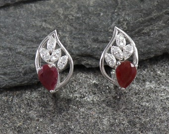 5736659e6 Natural Ruby Vintage Earrings, 925 Sterling Silver Earrings, Indian Ruby  Gemstone Leverback Hook Earrings, Gift Cocktail Earrings EY226