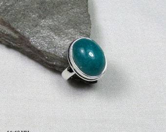 Amazonite gemstone, Solid 925 Sterling Silver Handmade Fine Ring, Size-5.75 US