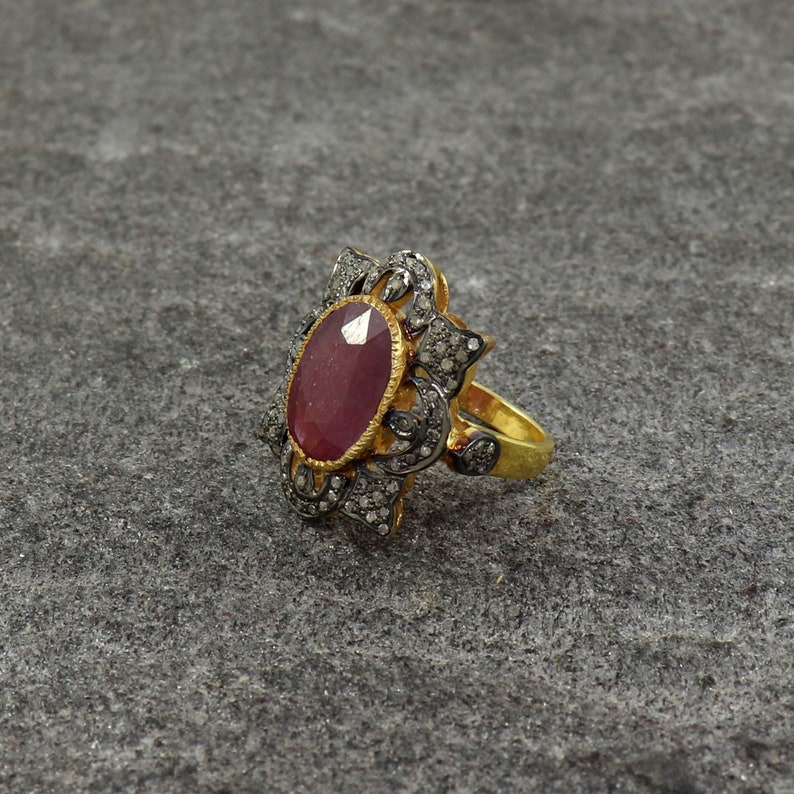 Gold Band Ring Vintage Statement Ring US 4 to 15 Antique Ruby Ring Ruby Birthstone Ring Sterling Silver Ring Genuine Pave Diamond Ring