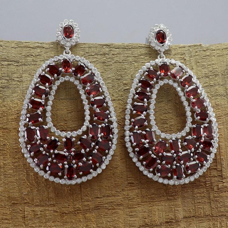 Fashion Jewelry Earrings Natural Garnet Gemstone Stud Earrings Cubic Zirconia Gemstone Earrings 925 Sterling Silver Fine Jewelry Earrings