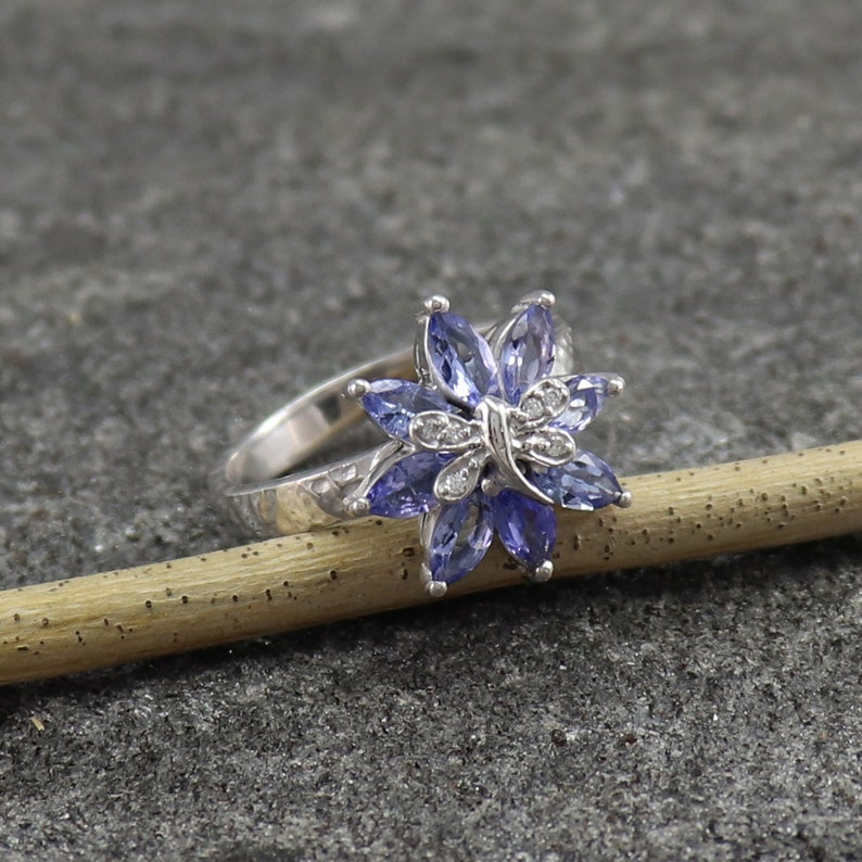 Handmade Victorian Natural Tanzanite Gems /& Diamond 925 Sterling Silver Rings