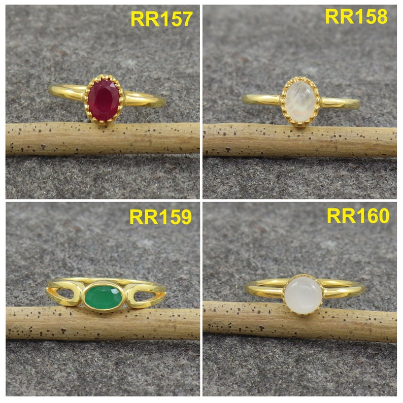 Natural Ruby Ring Size MIX Moonstone Rings Emerald Women Ring Birthstone Rings for Women Sterling Silver Ring Yellow Gold Plated Ring