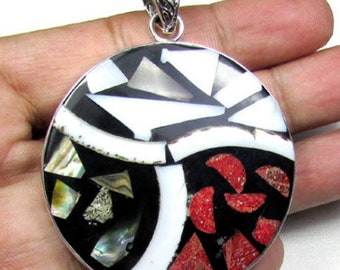 Shell Gemstone with Solid 925 Sterling Silver Jewelry Handmade Pendant