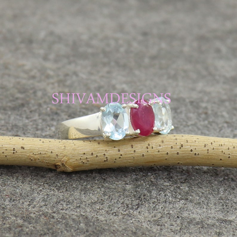 Ruby Silver Ring 3 to 15 Genuine Aquamarine Ring Three Stones Ring March Birthstone Ring July Birthstone Ring 925 Sterling Silver Ring