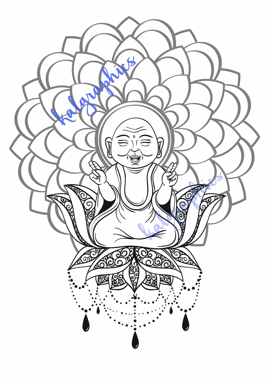 Laughing Buddha on a Lotus with Mandala background Printable   Etsy