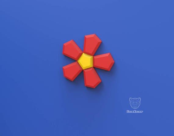 Geometric Paper Flower Wall Art Paper Flower Pdf Template Pixel Flower