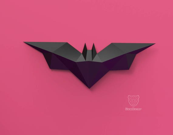 Geometric Papercraft Batman Logo Low Poly Bat Pdf Template Etsy