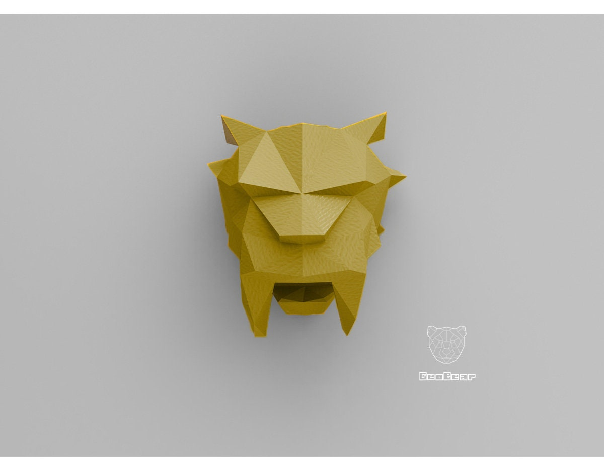Geometric Papercraft Sabertooth Cat Low Poly Animal Etsy Origami Mouse Instructionsorigami Diagramorigami Mickey