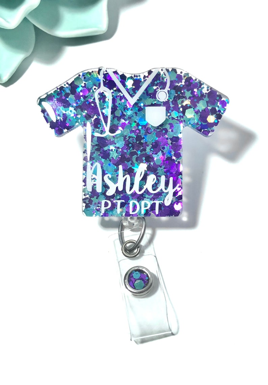 Id name badge Np Micu Icu scrub top glitter badge Rn- Picu nurse scrubs Lpn Ota Nicu - Pacu Scrub life badge reel