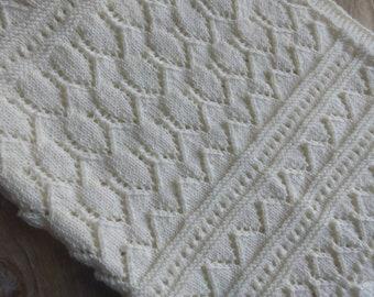da3dc749ce4f Pure merino baby blanket - newborn baby blanket - hand knitted baby blanket