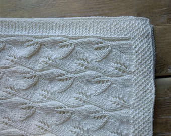 e4d25183e64f Hand Knitted Baby Blanket - Soft Cotton - White Baby Blanket