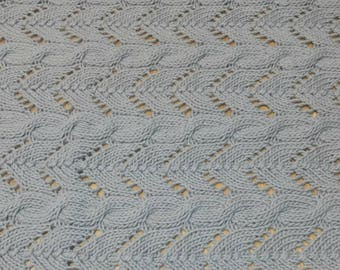 Ready to ship Cotton hand-knitted baby blanket - Gray colour