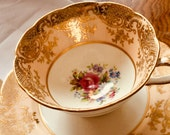 Vintage Paragon Double warrant Floral China Teacup Saucer By Appointment of H.M. Queen Mary, Double stamp