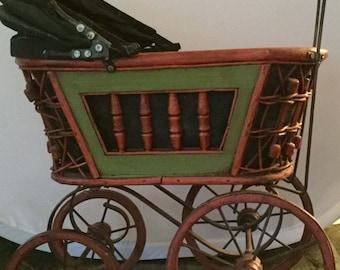 Vintage Victorian Style Baby Doll Pram