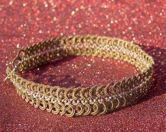 Infinity Gold Choker, Gold Tatting Choker, Wedding Lace Jewelry, Gold Sparkle Choker, White Gold Jewelry, Bridal Choker, Top Selling Item