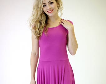 Pink fit and flare dress short sleeve 46dbfa4f6