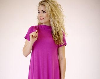 948fe87347bc Pink dress short sleeve, pink summer dress, fuchsia dress midi length,  loose fit dress, casual midi dress, pink midi dress knee length dress