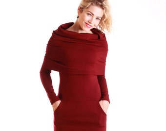 Burgundy long sleeve dress, cowl neck dress with pockets, casual midi dresses, burgundy hooded bodycon dress, casual dresses for women