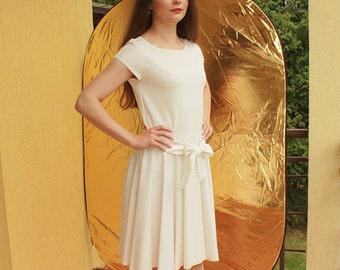 White midi dress short sleeve, simple wedding dress with pockets, modest wedding dress, fit and flare dress, skater dress white dresses