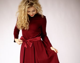 Dark red dress with long sleeve, fit and flare dress, burgundy dress, midi dress, occasion dress with pockets, elegant dresses for women