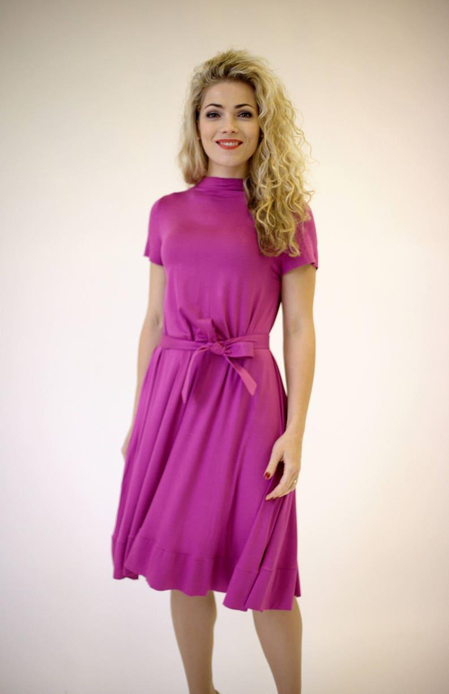 2bb2f1f911b5 Pink dress short sleeve pink summer dress fuchsia dress midi | Etsy