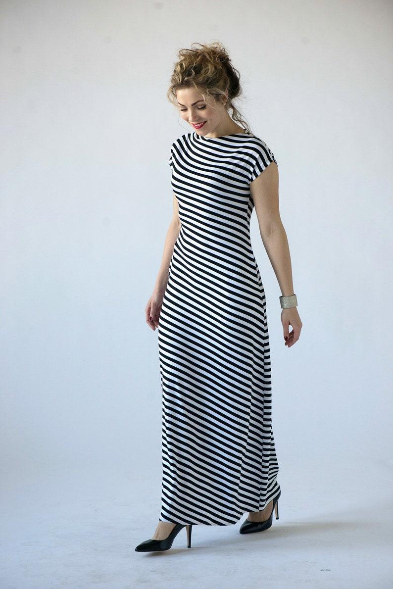 966d8f62c19a Striped maxi dress summer maxi dresses for women black white | Etsy