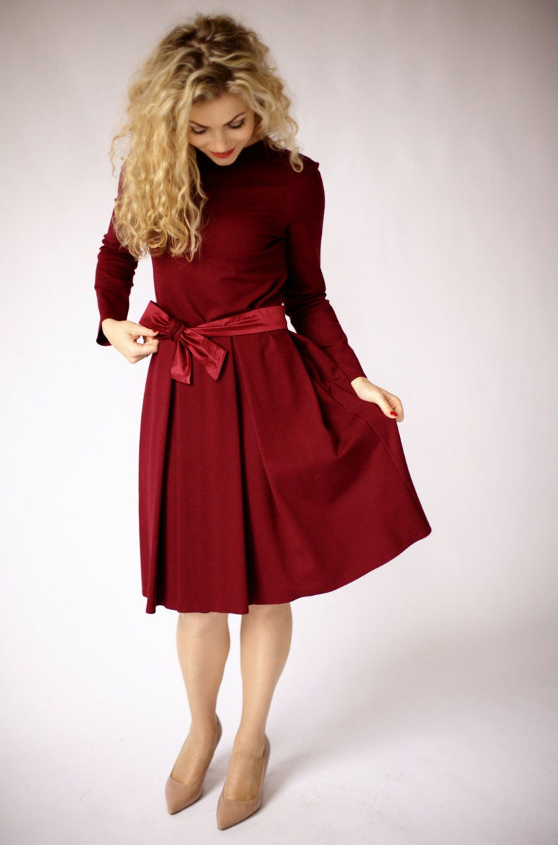 0c7ec1c157 Dark red dress with long sleeve fit and flare dress burgundy