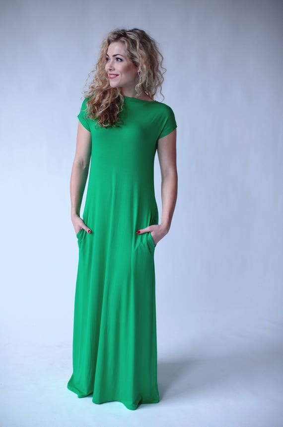 9b3e36e108c4e Green maxi dress summer floor length dresses short sleeve | Etsy