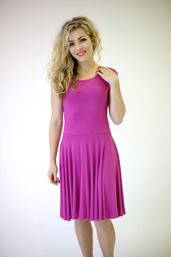 db9c9d89fa SALE pink skater dress with short sleeves fuchsia dress pink