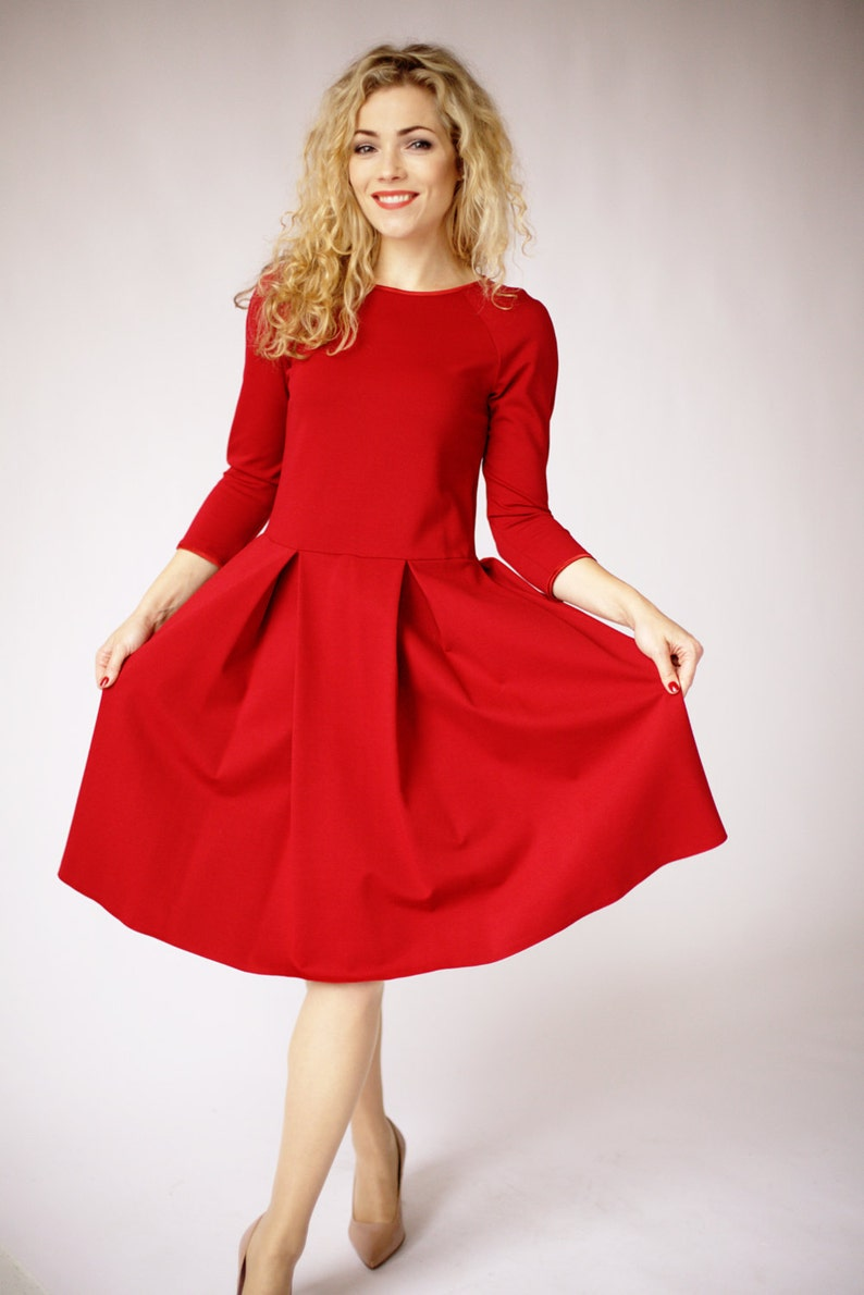 8519f029958 Long sleeve dress in red dresses for women red formal dress | Etsy