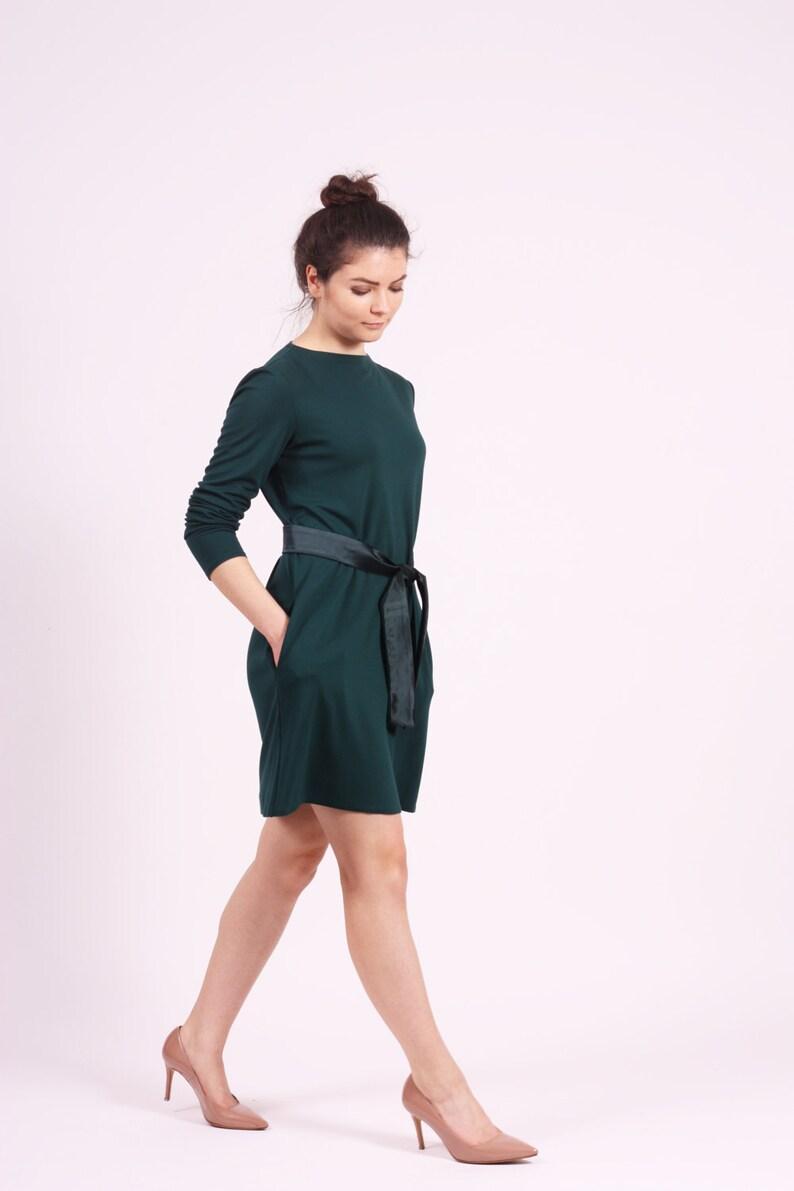d2acf4133239 Dark green dress long sleeve dress midi dress with pockets A
