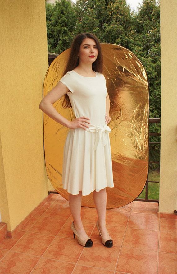 White Midi Dress Short Sleeve Simple Wedding Dress With Pockets Modest Wedding Dress Fit And Flare Dress Skater Dress White Dresses